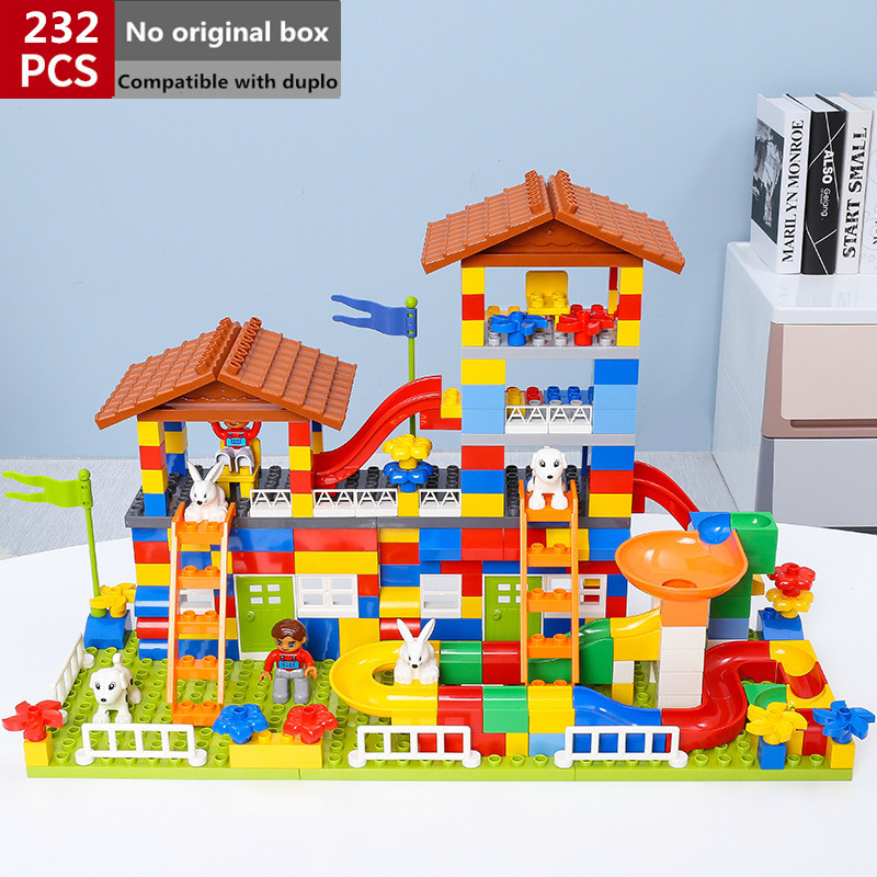 Oyuncaklar ve Hobi Ürünleri'ten Bloklar'de 232 adet Diy Büyük Boy Duploed Yapı Taşları Evi Çatı Figürü Set Eğitim Tuğla Oyuncaklar Çocuklar Için'da  Grup 1