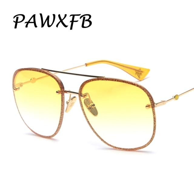 f9adad47253 Pop Age 2018 New Italy Brand Designed pilot Sunglasses Women Men Metal glittery  Frame Sun Glasses Luxury Eyewear Lentes de sol