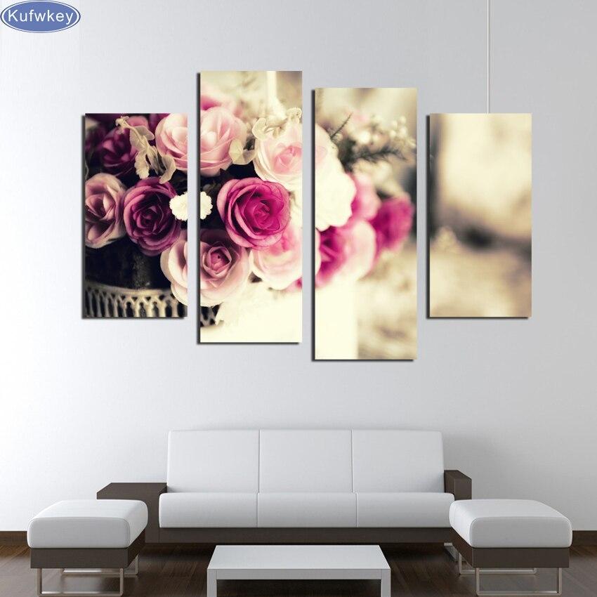 4 pièces fleur colorée rose, bricolage diamant broderie image de strass triptyque Almaznaya mosaïque point de croix diamant peinture