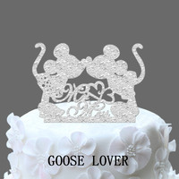 Mickey And Minnie Silhouette Cake Topper Mr And Mrs Wedding Cake Topper With Heart Decor Cartoon