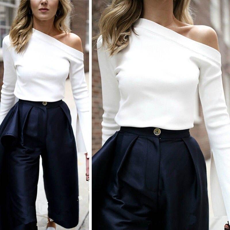 Autumn Winter Women Shirt Split Long Sleeve