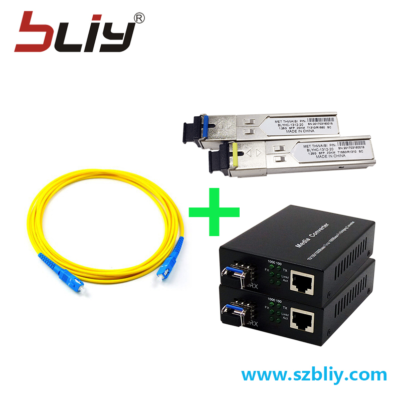 Ftth optical fiber tool kit 3m SC connector wire fiber cable 20KM sfp media converter mini gbic tranceiver sfp modules