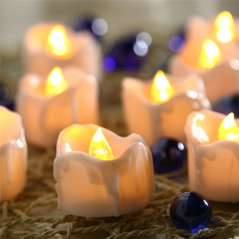 Yellow Flicker Battery Candles Plastic Led Candles Flameless Tea Lights For Christmas Halloween Wedding Decoration WNL004