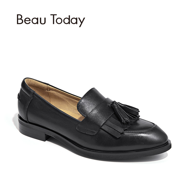 BeauToday Loafer Shoes Women Top Quality Genuine Calf Leather Fringe Tassel Casual Flats Brand Lady Shoes Handmade 27081 beautoday genuine leather crystal loafer shoes women round toe slip on casual shoes sheepskin leather flats 27038