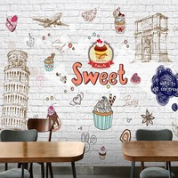 Custom photo wallpaper European hand painted cartoon dessert shop wallpaper tower coffee cake shop decoration background mural