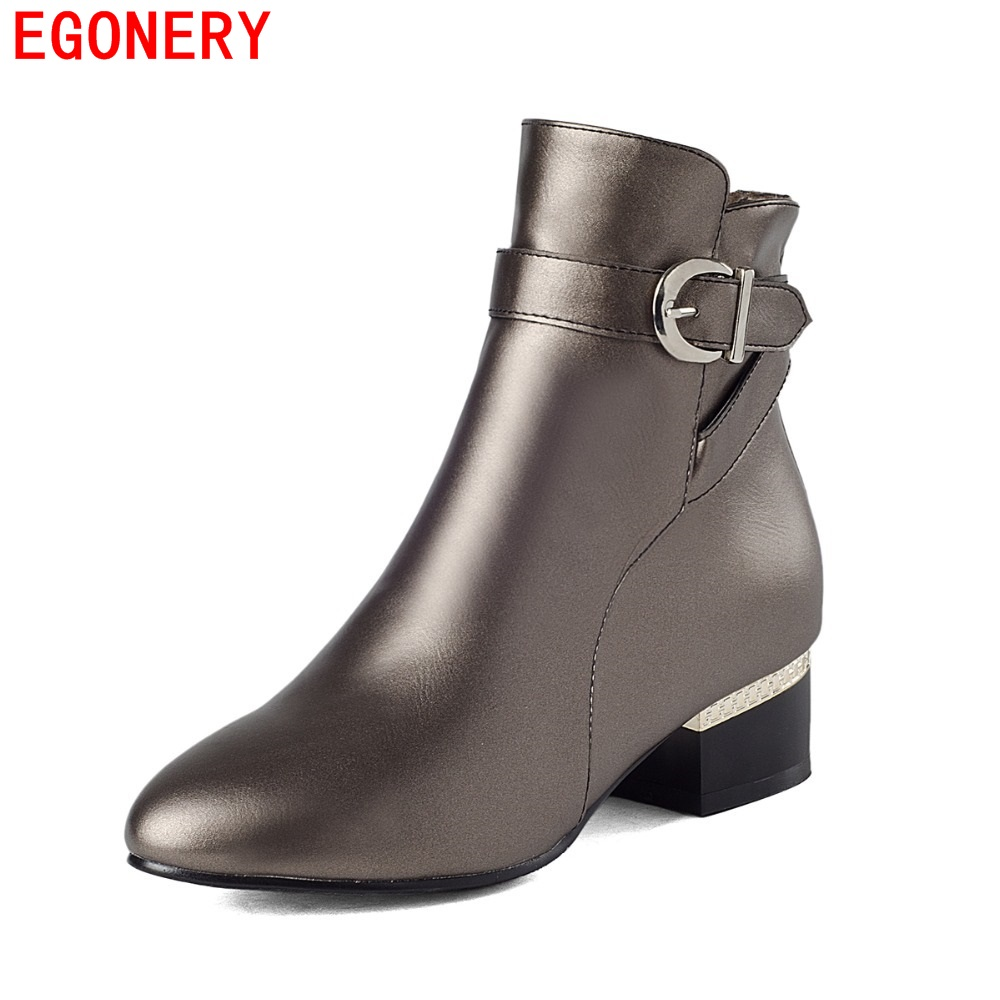 EGONERY Faux Leather Round Toe Casual Low Heels Zipper Belt Ankle Women Shoes Spring Autumn Fashion Boots Plus Size egonery quality pointed toe ankle thick high heels womens boots spring autumn suede nubuck zipper ladies shoes plus size