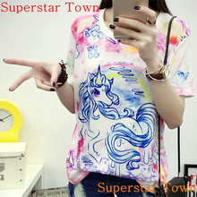 Adorable Summer Cute Soft Anime Pattern Women Girls Clothing Sweet Lolita Japan Kawaii Female Tops Rainbow Unicorn T shirts