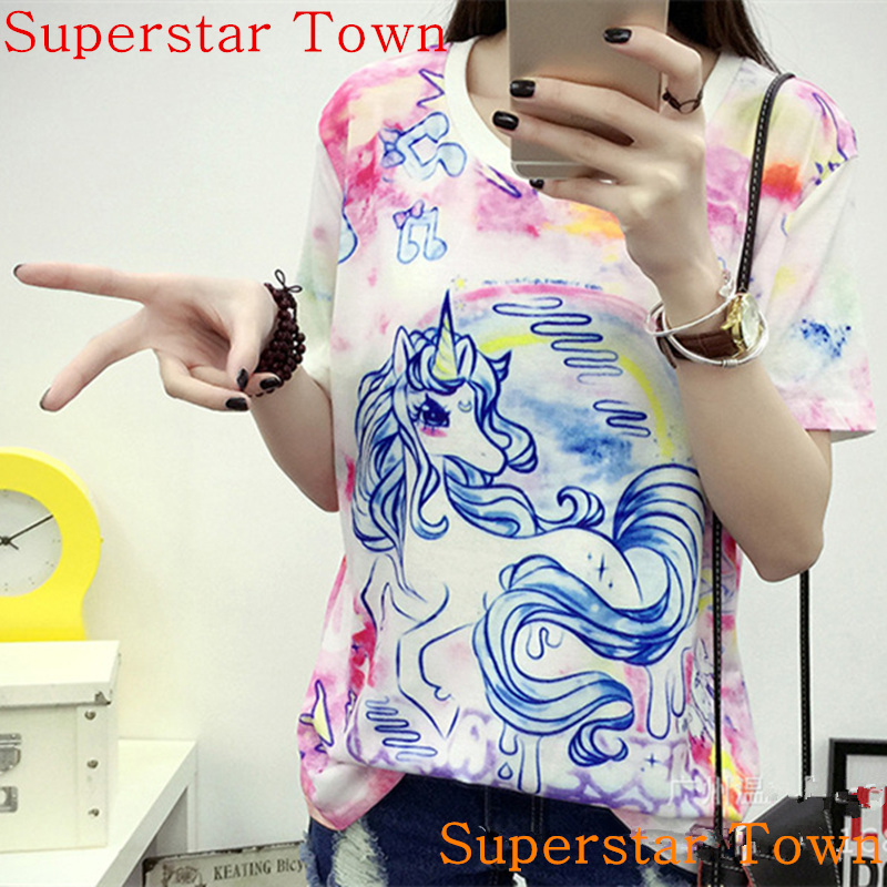 T-shirts Wome Summer Cute Soft  Anime T-shirt Sweet Clothing Sweet Lolita Japan Kawaii Female Tops Rainbow Unicorn T shirts