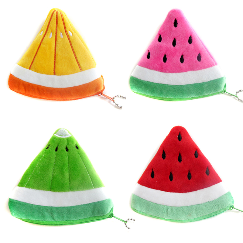 Lovely Children Gifts Fruit Wallets Plush Coin Storage Pouch Watermelon Purses Mini Money Bags SY3126