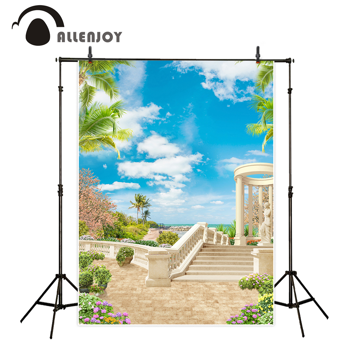 Allenjoy Roman Holiday vinyl backdrops for photography sky tropical floral stone floor background photography photo studio allenjoy photography backdrops book shelf in library graduation season background for photo studio