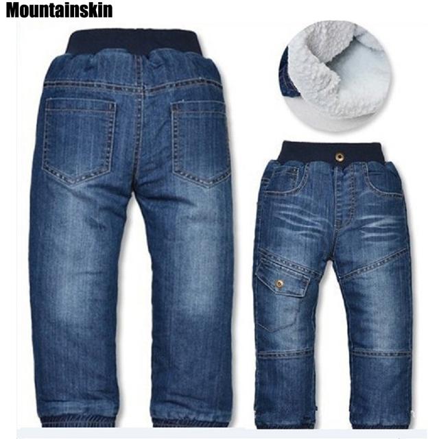 Nuevos Pantalones Gruesos de Invierno Chicos de Mezclilla Vaqueros de Los Niños de la Cachemira 3-7Y Ropa de Marca Para Niños Chicas Casual Pantalones Termales Al Aire Libre SC683
