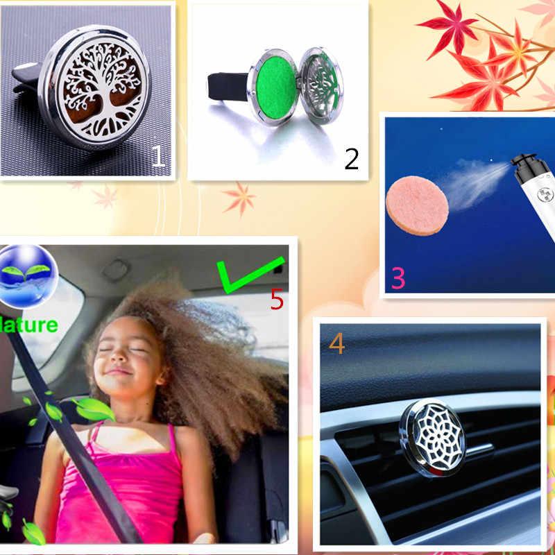 รถ Air Diffuser สแตนเลส Freshener Car Essential Oil Diffuser กลิ่นน้ำหอมจี้สร้อยคอ