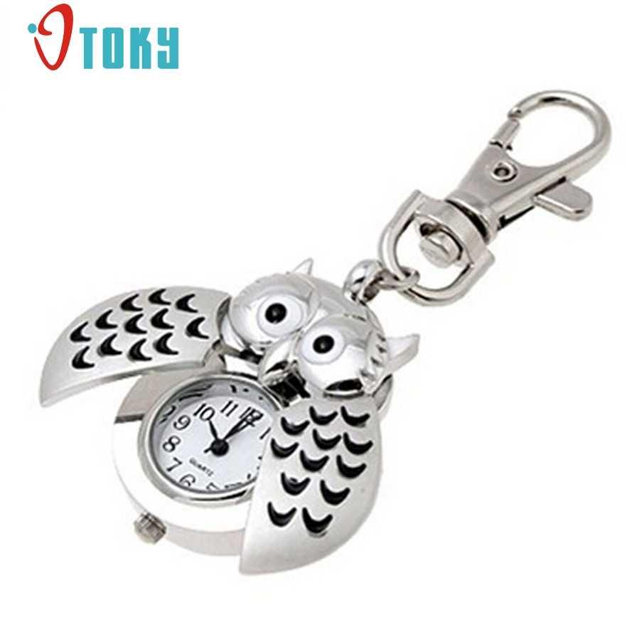 OTOKY Pocket Fob Watch Mini Metal Key Ring owl Double Open Quartz Alloy Analog Watch Clock Silver for women men #20 Gift 1pc