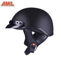 Half Face Vintage Motorcycle Helmet DOT approved Retro German Kask Cafe Racer Scooter Cruiser Chopper Matte black EPS lining