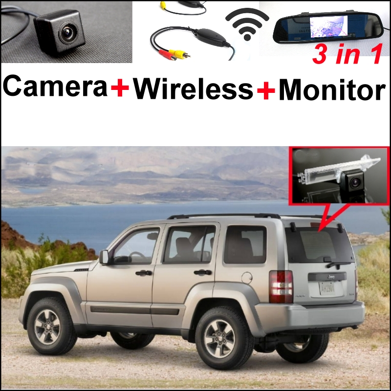 Wireless Receiver + Mirror Monitor EASY DIY Parking System For Jeep Patriot  Liberty 2007~2015 + 3 in1 Special Rear View Camera wireless pager system 433 92mhz wireless restaurant table buzzer with monitor and watch receiver 3 display 42 call button