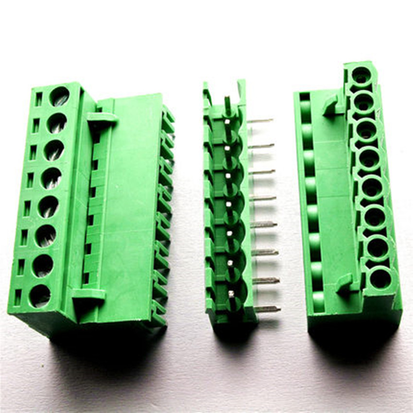 5 sets 5 08 8pin Right angle Terminal plug type 300V 10A 5 08mm pitch connector