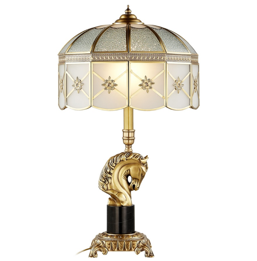 63cm Height Table Lamp With Horse Head Frosted Glass Shade Solid