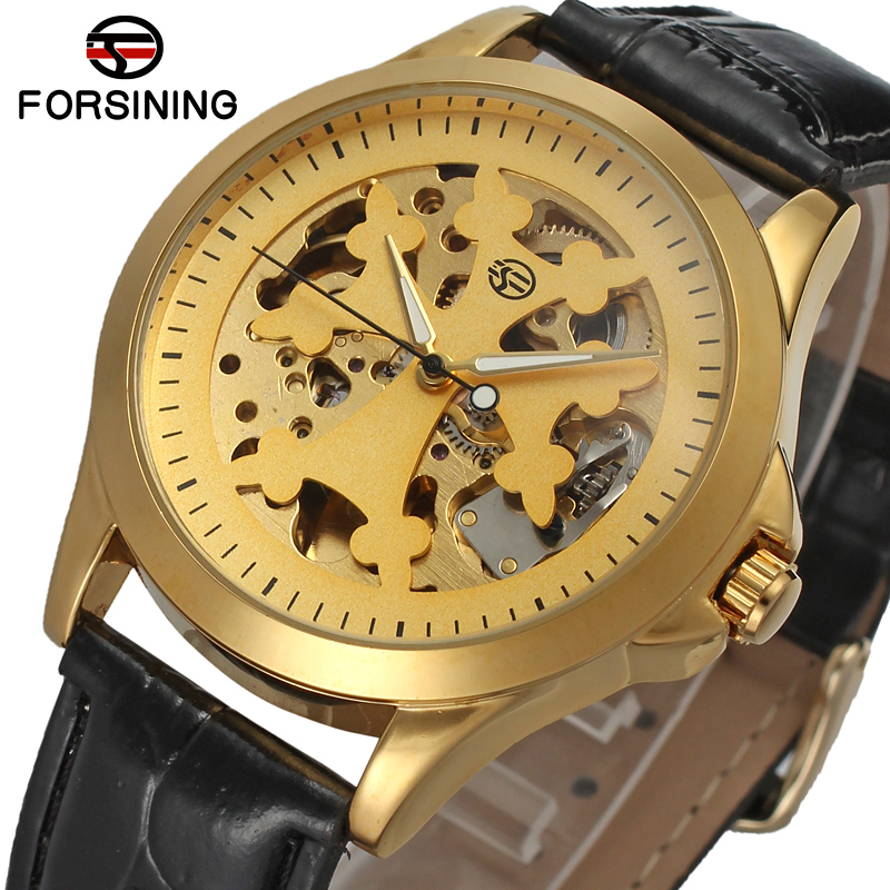 Forsining Men's Mechanical Automatic Watch Male Skeleton Dial Leather Strap Watch Luxury Brand Wristwatch Clock Dress Gift forsining gold hollow automatic mechanical watches men luxury brand leather strap casual vintage skeleton watch clock relogio