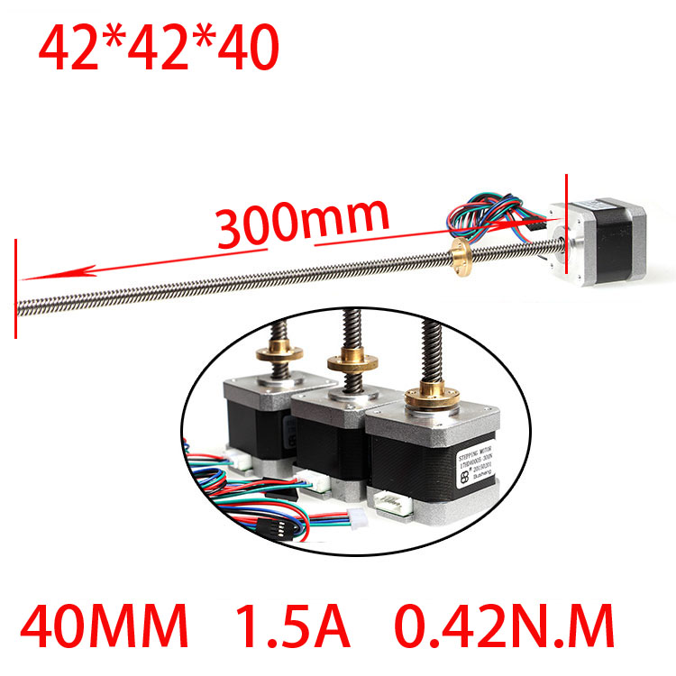 42 3D printer screw linear stepper motor linear motor 1.5A 40mm screw length 300mm anet 3d printer screw linear 2 phases stepper motor