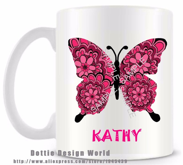 Personalized butterfly funny novelty travel mug ceramic white coffee personalized butterfly funny novelty travel mug ceramic white coffee tea milk cup custom birthday easter gifts negle Gallery