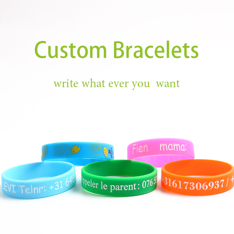 High Quality silicone charm bracelets&bangles private custom women and man Personalized Name ID For kids and adult Customize