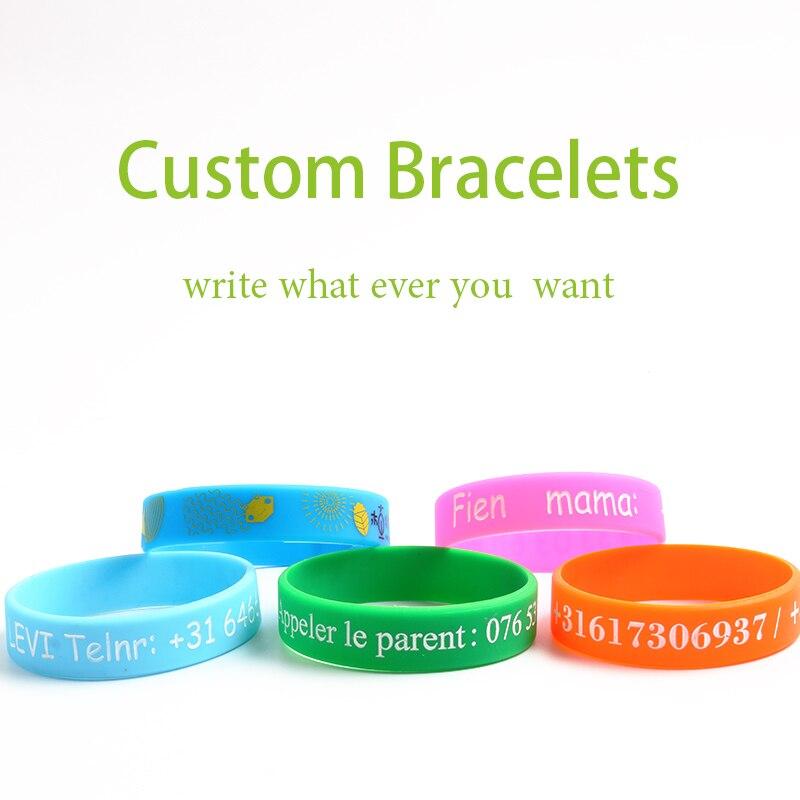 Pulseras y brazaletes de silicona de alta calidad personalizados para mujer y hombre, identificación personalizada de nombre para niños y adultos