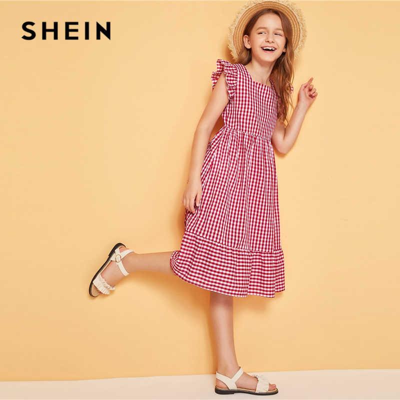 SHEIN Kiddie/Красный Полосатый изящное платье с квадратным вырезом для девочек 2019 г. летнее платье без рукавов на молнии с оборкой сзади Boho A Line