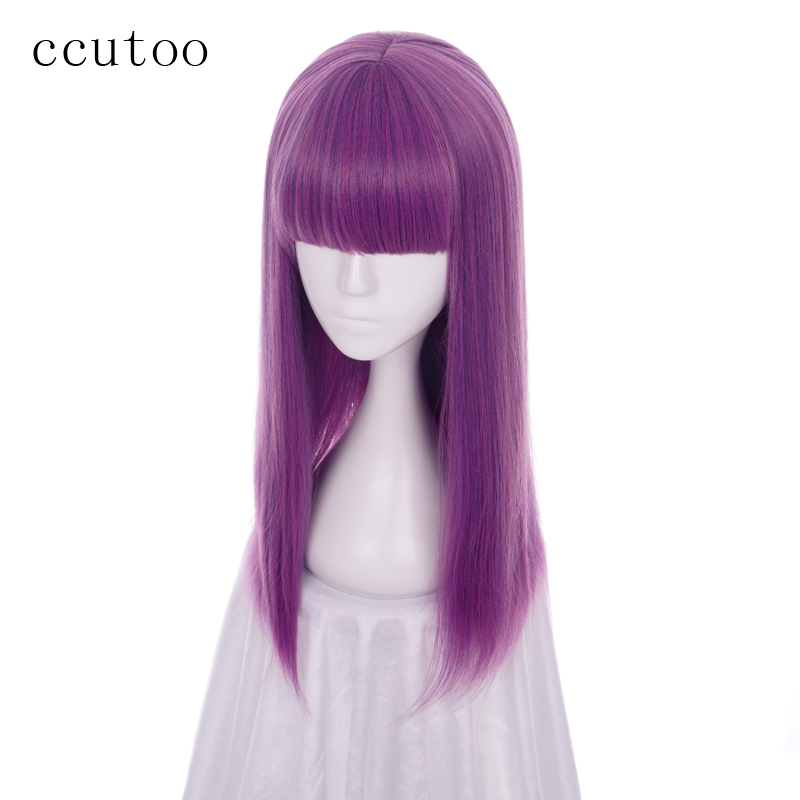 Ccutoo Descendants 2 Mal 60cm Pourpre Mix Droite Plat Bangs Synthétique Perruque Cosplay Femmes Halloween Party Perruques