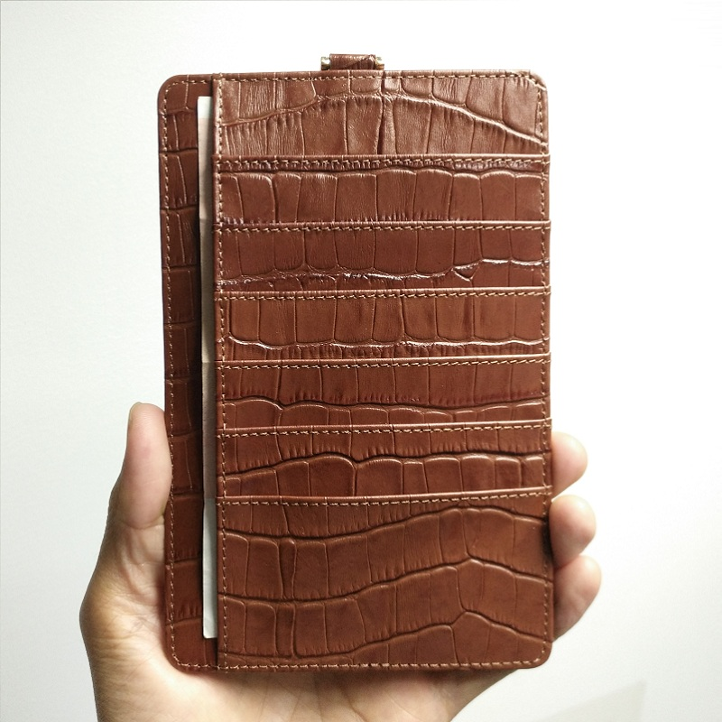 brown genuine leather strap card pouch case for iPhone x xs max 7 plus (2)