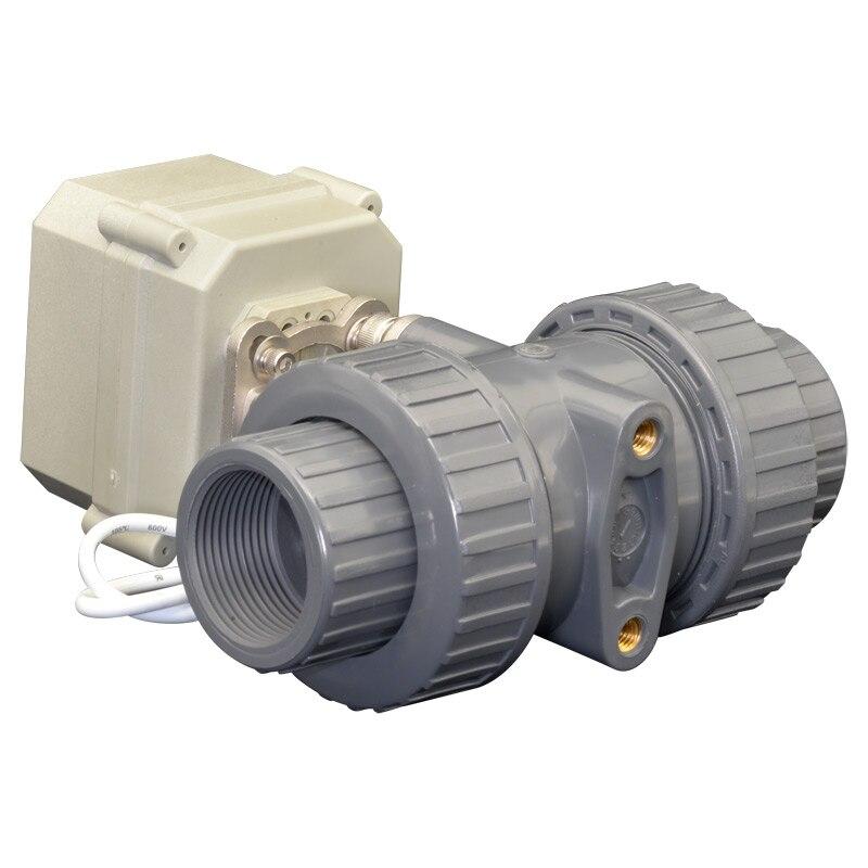 2 Way PVC DN40 Normally Open Normally Close Valve BSP/NPT 11/2'' AC110-230V 10NM On/Off 15 Sec Metal Gear CE 2 way pvc dn25 motorized ball valve bsp npt 1 ac110 230v 4 7wires 10nm electric ball valve on off 15 sec metal gear ce