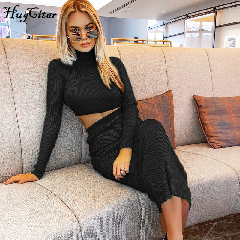 Hugcitar High Neck Long Sleeve Crop Tops Skirt 2 Two Pieces Set 2019 Autumn Winter Women Fashion Streetwear Solid Tracksuits