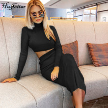 Hugcitar high neck long sleeve crop tops skirt 2 two pieces