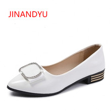 Summer Autumn New  Pointed Toe Flats White Black Pink Women's Patent Leather Flat Shoes Women 2018 Ladies Casual Diamond Shoes цена в Москве и Питере
