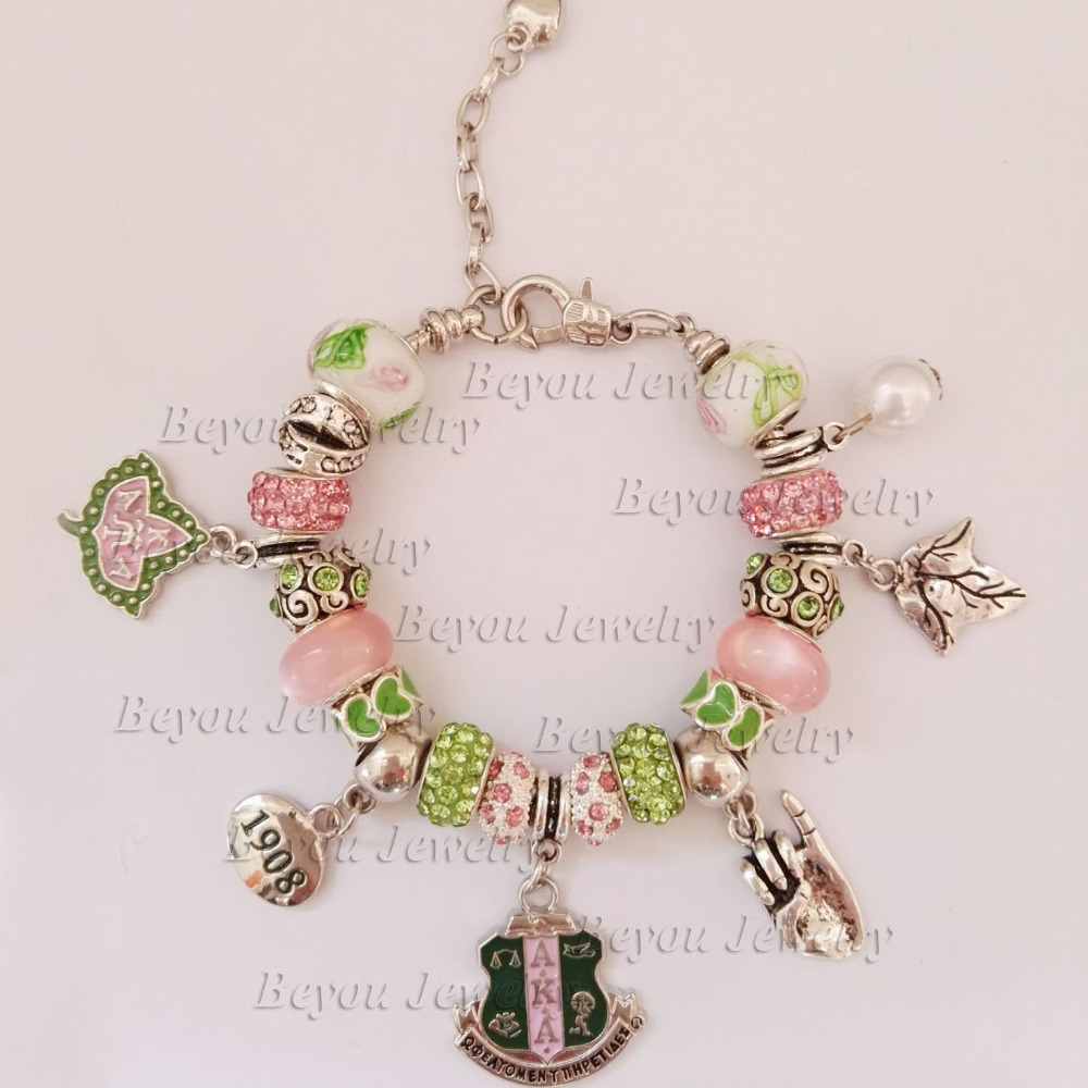 AKA Sorority  Ivy 1908 pinky up charm bracelet greek custom bracelet bangle 1pcAKA Sorority  Ivy 1908 pinky up charm bracelet greek custom bracelet bangle 1pc
