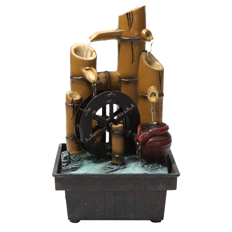 110/220 V bambou en forme de résine Feng Shui roue fontaine d'eau jardin paysage aquatique décoration artisanat décor de bureau pour cadeaux d'anniversaire