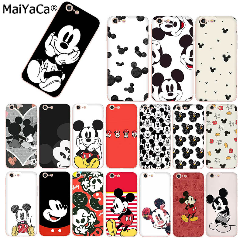 premium selection 3353c c68f3 MaiYaCa Mickey Mouse ears Luxury TPU Rubber Phone Case cover for Apple  iPhone 8 7 6 6S Plus X 5 5S SE XS XR XS MAX mobile case