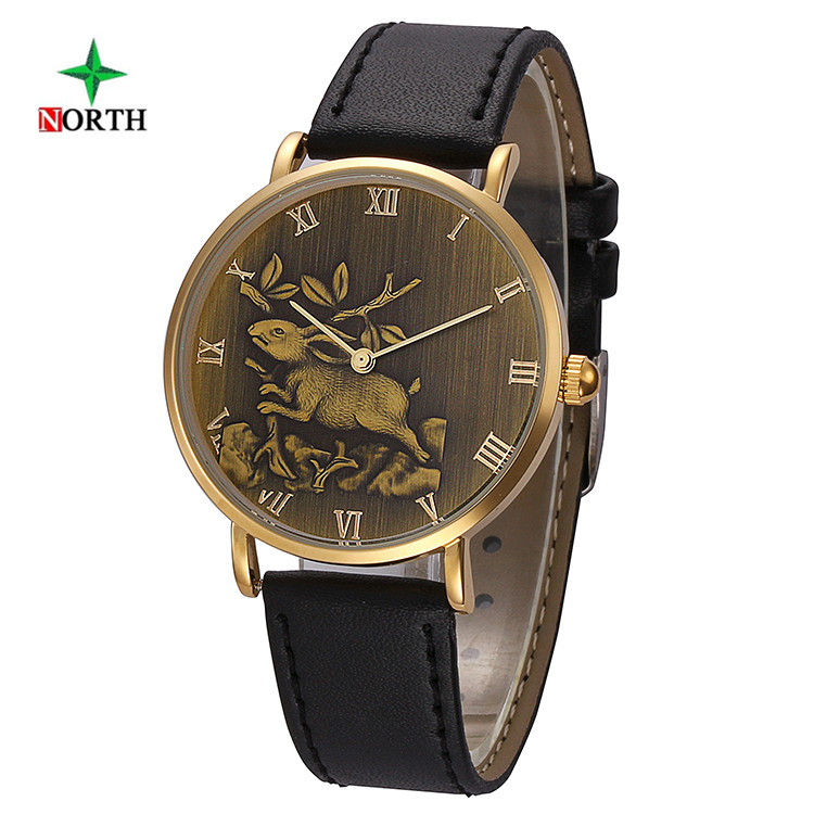 NORTH 2017 Chinese Zodiac Rabbit Watches Men Women Leather Watchband Wristwatch Male Clock Waterproof Quartz Sport Watch Hours робот zodiac ov3400