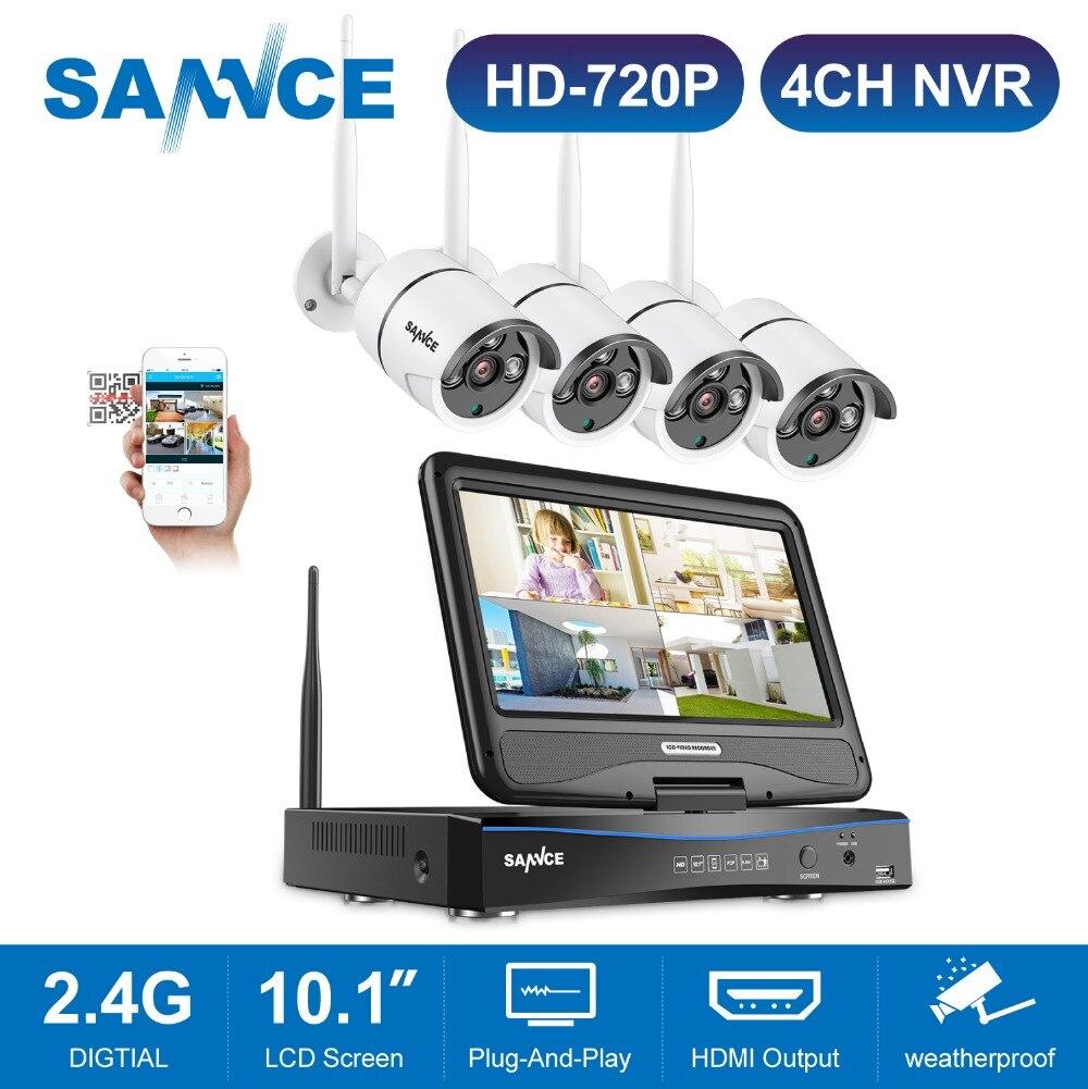 SANNCE 4CH Wifi 720 P CCTV Caméra de Sécurité NVR Kit Wi-Fi Système de Sécurité Vidéo avec 10.1 ''LCD Écran Vidéo caméra de Surveillance