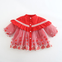 Brand New Baby Girl Winter Princess Dress Coat Infant Girls Lace Flowers Cotton Padded Thick Warm Dresses Kids Clothes