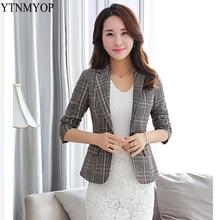 YTNMYOP тонкий модный Блейзер Женский Короткий офисный женский клетчатый пиджак пальто весна осень блейзеры одежда верхняя одежда