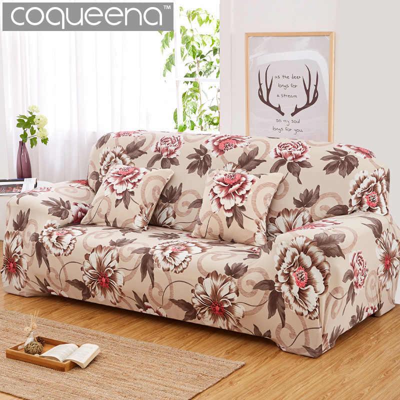 Coqueena™ цветы чехол на диван чехлы на мебель чехол для дивана универсальный натягивается эластичный