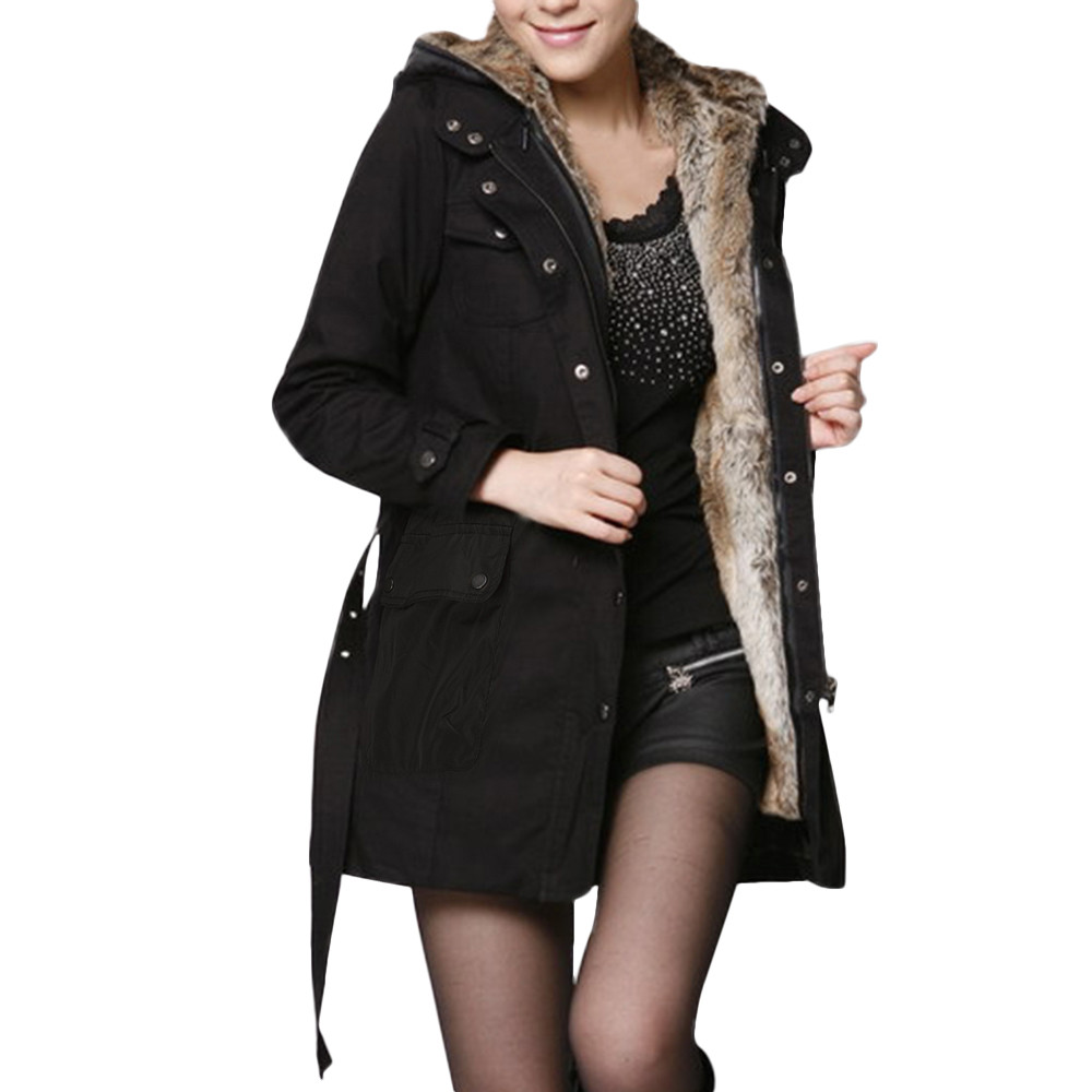 Long Ladies Bg Warm Fur Z1120 Lining 1pc Solid Thick Casual Jaycosin Sashes gn Jacket Womens Parka Sleeve Winter bk Coat Hooded 5xwvTE