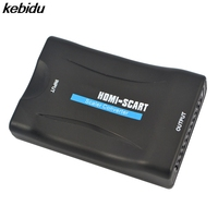 kebidu HDMI To SCART Converter Composite Audio Video PAL HDCP Blu-Ray DVD STB SKY With Power Supply Support 1080P