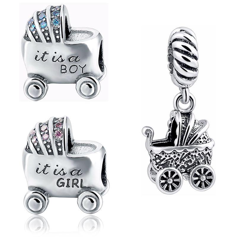 StrollGirl diy beads Baby boy and girl carriage charms collection silver color 925 fit authentic pandora bracelet jewelry gifts strollgirl car keys 100% sterling silver charm beads fit pandora charms silver 925 original bracelet pendant diy jewelry making