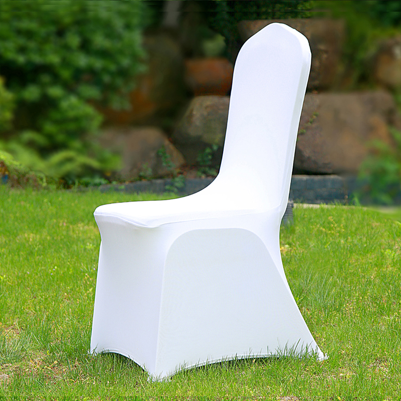 50/100pcs Universal Cheap Hotel White Chair Cover office Lycra Spandex Chair Covers Weddings Party Dining Christmas Event Decor image
