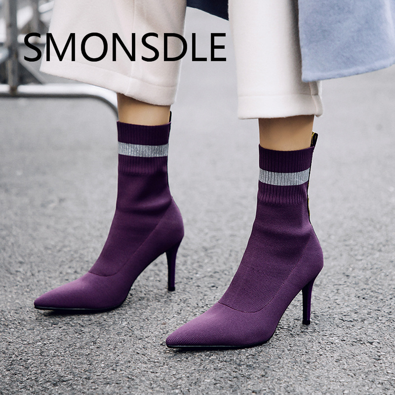 2018 Fashion Spring Autumn Women Ankle Boots Pointed Toe Slip On Thin High Heels Shoes Woman Black Violet Women Party Boots spring autumn woman shoes cow suede shoes high heels sexy party pumps fashion women s pointed toe thin heel ankle boots 34 41