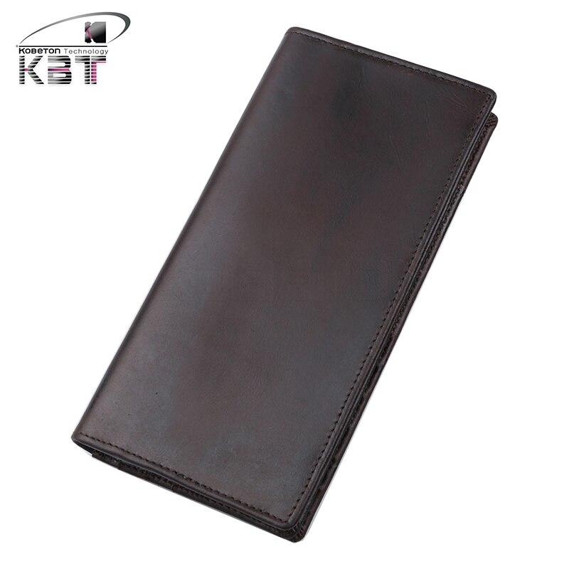 New Vintage Genuine Leather Men s Long Wallet Zipper Bifold Purse Clutch Bag font b Mobile