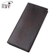 New Vintage Genuine Leather Men's Long Wallet Zipper Bifold Purse  Clutch Bag Mobile Phone Bags Pack Card Holder Dark Coffee