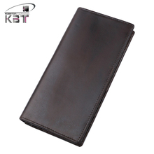New Vintage Genuine Leather Men's Long Wallet Zipper Bifold Purse  Clutch Bag Mobile Phone Bags Pack Card Holder Dark Coffee