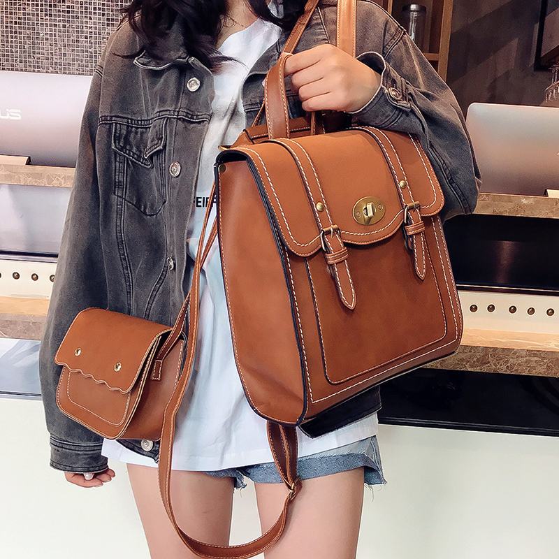 2019 NEW Fashion Backpack 2pcs Set Women Backpack PU Leather School Bag Women Casual Style A4 Paper Women Backpacks Shoulder Bag-in Backpacks from Luggage & Bags